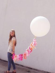 36 Inch Round Balloon with Super Frill Tissue by CarouselLane, $46.00 #balloon #36inch #round #tassel #pink #peach #wedding #birthday #decor