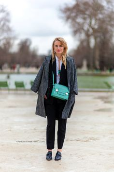 Winter - Turquoise Bag - Coat - Street Style