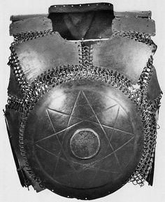 Ottoman / Mamluk krug (chest armor), 16th century, steel plates connected by riveted mail, as worn by fully armored cavalryman (sipahi) in conjunction with migfer (helmet), dizcek (cuisse or knee and thigh armor), zirah (mail shirt), kolluk/bazu band (vambrace/arm guards), and kolçak (greaves or shin armor).