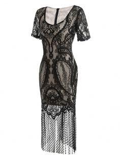 4d8a743ebd0 Black Short Sleeve 1920s V Neck Vintage Styles Lace Patchwork Flapper  Fringe Party Dress