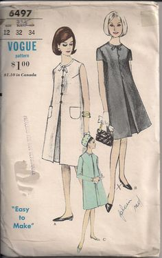 Vintage 60s Sewing Pattern MATERNITY DRESS Easy to Make