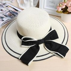 Hot Sale Summer Sun Hats For Women Round Flat Top Straw Hat Fedora Ladies Bow Panama Cap UV Protection Chapeu Feminino Sombrero A Crochet, Sacs Louis Vuiton, Floppy Straw Hat, Summer Hats For Women, Stylish Hats, Blazer Fashion, Fashion Top, Cheap Fashion, High Fashion