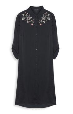 Black Longline Satin Embroidered Shirt