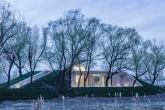 Arch Studio carves concrete Buddhist shrine into a grassy mound in Hebei