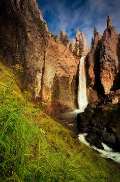 Tower falls at sunrise, Yellowstone National Park, Wyoming.