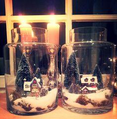 Een leuk en makkelijk idee om een mini winter wonderland te creëren in een glazen vaas..