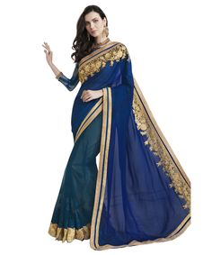 Buy Now Cyan- Royal Blue Embroidery Work Smoke Georgette Half-Half Fancy Saree only at Lalgulal.com. Price :- 2,552/- inr. To ‪#‎Order‬ :- http://goo.gl/AyzMvi To Order you Call or ‪#‎Whatsapp‬ us on +91-95121-50402 COD & Free Shipping Available only in India