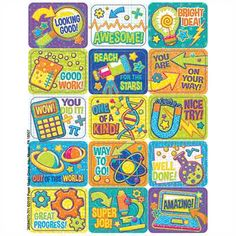 Let your students know how smart they are with motivational STEM stickers from Eureka. Comes with 9 varied STEM graphic designs that each feature a unique message of encouragement. Self-adhesive stickers each measure x 1 inches. Reward Stickers, Teacher Stickers, Classroom Supplies, Classroom Themes, Eureka School, Message Of Encouragement, Brag Tags, Lunch Box Notes, Stem Learning