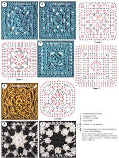Квадратные мотивы с плотной структурой со схемами и описанием для вязания крючком. Страница 124.