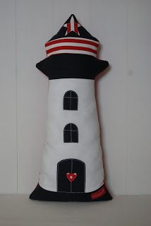 Leuchtturmkissen z. aus alter Jeans / Lighthouse pillow partly made from old pair of jeans / Upcycling Baby Crafts, Felt Crafts, Altering Jeans, Lighthouse Decor, Ring Pillow Wedding, Lavender Sachets, Fabric Toys, Sewing Pillows, Sewing Dolls