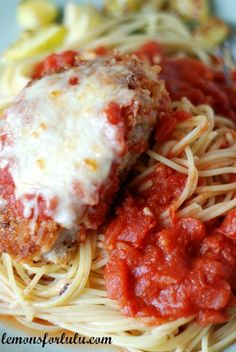 Pork Parmesan with pasta - $4 for 2 chops and 8 oz noodles. Pasta sauce - use leftovers from another meal or make this recipe's sauce for $2.