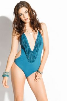 l*space - women's stardust fringe one piece bathing suit