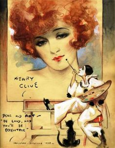Flapper Girl Painted By Pierrot (Christmas 1928). Henry Clive (Australian, 1882-1960). Watercolor.