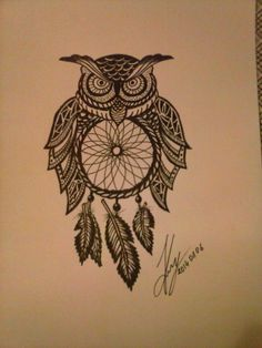My drawing. With black pen...OWL ...