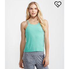 Aeropostale LLD Ribbed Crop Tank ($14) ❤ liked on Polyvore featuring tops, tropical mint neon, ribbed tank, mint top, neon tank top, neon crop top and ribbed crop top