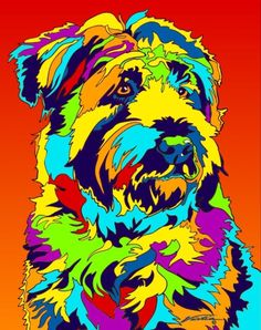 Dog Breed: The Soft-coated . Colorful Animal Paintings, Colorful Animals, Terrier Dog Breeds, Wheaten Terrier, Arte Pop, Chihuahua, Pop Art Background, Animal Stencil, Dog Artwork