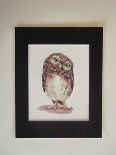 MrWise Guy8x10 owl watercolor printbird print/ by AmyVaknin, $16.00
