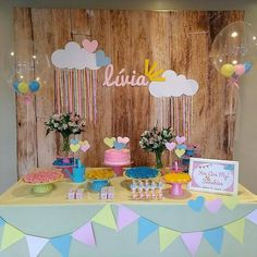 Decora o Ch de Beb - Chuva de Amor - Dicas e Inspira o o Love Decorations, Birthday Decorations, Love Rain, Unicorn Party, Baby Decor, Candy Colors, Baby Shower Parties, My Sunshine, Party Planning