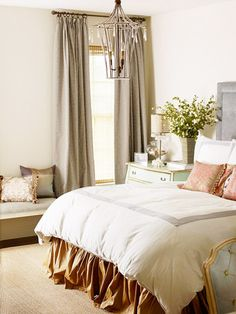 Bedroom Storage - The calming palette of neutrals with gray-blue and green carries into the master bedroom. To add more storage beside the bed, professional organizer Amanda Catalanotto used a small-scale chest of drawers in place of a smaller nightstand.