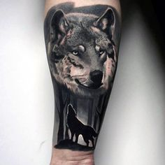 Realistic Shaded Black And Grey Male Forest Wolf Tattoo Ideas On Forearm