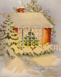 #464 40s Glittered House in the Snow-Vintage Christmas Card-Greeting
