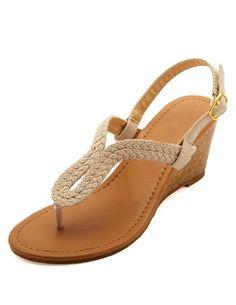 Braided Loop Thong Wedge Sandals: Charlotte Russe