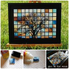 DIY Glass TileMosaic Tree Wall Art Tutorial. Finally a project I voted for over at One Artsy Mama (the Mod Podge Challenge) won and I'm so glad it was Adrianne at Happy Hour Projects! This is one of those projects that is so cheap to make and requires patience and the right photo, but the final result is worth it. Find the tutorial from Happy Hour Projects here.