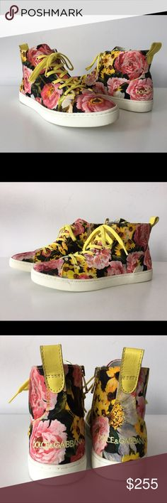 DOLCE & GABBANA MULTICOLOR FLORAL PRINT SNEAKERS DOLCE & GABBANA MULTICOLOR FLORAL PRINT CANVAS HIGH-TOP SNEAKERS, SIZE 36, MADE IN ITALY, WHITE RUBBER SOLE, YELLOW LEATHER HEEL TAB, ROUND TOE, GOLD ZIPPER OPENING ON THE SIDE, LOGO DETAILS, BRAND NEW WITH BOX AND DUST BAG Dolce & Gabbana Shoes Sneakers