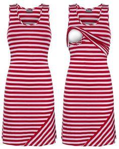 Striped nursing tank dress by Milk Nursingwear.   Also available in Teal/White & Black/White