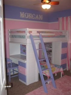 painted loft bed for daughter