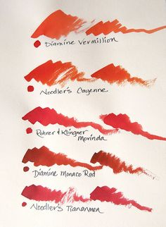 Red Ink Swatches by inkophile, via Flickr