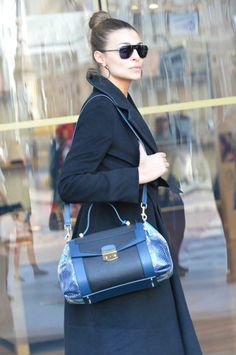 Cristina Chiabotto with her blue Lucinda bag