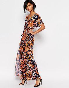 Vestido largo cruzado con estampado de Vero Moda