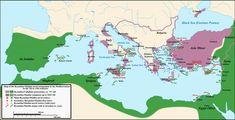 Map of Byzantine-Arab naval battles. Dates written in green: Arab victories Dates written in red: Byzantine victories