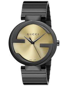 708d57f4de7 Buy Gucci Men s Interlocking G Yellow Dial Black PVD Stainless Quartz Watch  YA133209