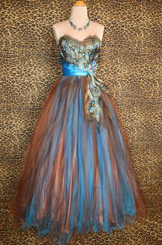 Turquoise Peacock Prom Formal Evening Pageant Long Ball Gown Dress XL 12 14 | eBay