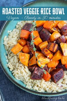 This Roasted Vegetable Rice Bowl is a hearty meal incorporating roasted root vegetables and rice pilaf. A tasty vegan rice bowl for busy winter weeknights! Vegetarian Rice Bowl Recipe, Veggie Rice Bowl, Vegetable Rice, Vegetarian Recipes Dinner, Rice Bowls, Vegan Vegetarian, Vegan Recipes, Eating Vegan, Vegetable Drinks