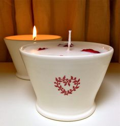 Small Peace Candle bowls in red with Rose fragrance candle