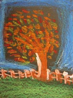 Fall Trees in oil pastel