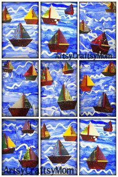 collage van bootjes (onderdelen geknipt uit tijdschriften) Mast van rietje/stokje