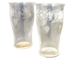 Grape and Leaves Etched Glass High Ball Glass Cup by ogdenlane, $12.95