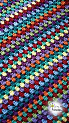 Lily's Garden Striped Granny Afghan by Simply Collectible - Crochet Pattern Bonanza Crochet Pattern Free, Granny Square Crochet Pattern, Crochet Stitches Patterns, Crochet Granny, Cute Crochet, Crochet Yarn, Easy Crochet Blanket Patterns, Crochet Ideas, Crochet Blocks