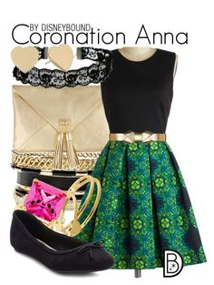 """""""Coronation Anna"""" by leslieakay ❤ liked on Polyvore featuring GUESS, Gorjana, Marni, ASOS, Kate Bissett, New Look, Kate Spade, disney, disneybound and disneycharacter"""