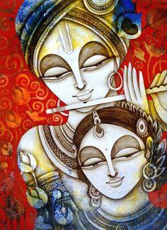 A Beautiful textured Painting by artist Rakesh Mandal in Vivid Colors Saree Painting, Kerala Mural Painting, Indian Art Paintings, Silk Painting, Krishna Painting, Krishna Art, Radhe Krishna, Lord Krishna, Zantangle Art