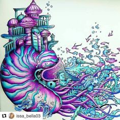 #Repost @issa_bella03 with @repostapp ・・・ Done! Imagimorphia by; @kerbyrosanes . Faber Castel Polychromos, Prismacolor #imagimorphia #kerbyrosanes #animorphia #fabercastell #prismacolor #relax #arttherapy #color #colorindolivrostop #bayan_boyan #boracolorirtop #coloringforadults #lostocean #coloring_secrets
