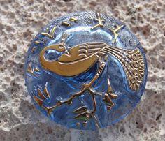 Light Blue Czech Glass Peacock Button Gold by lookingglassbuttons, $4.70