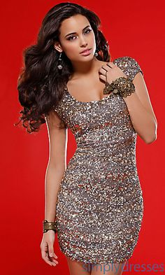 Caped Sleeve Sequin Dress Scala-47250