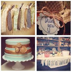 Rustic vintage baby shower ideas with mint and gold I did the cake for..