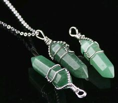 Silver Wire Wrapped Green Aventurine Necklace
