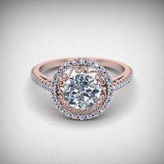 Intricate Design Rose Gold Round Diamond Engagement Ring anillos de compromiso | alianzas de boda | anillos de compromiso baratos http://amzn.to/297uk4t